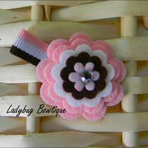 Sweet Wool Felt Flower Clip - Neapolitan Photo