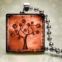 Swirly Tree Peach - Glass Tile Pendant (Stb9) Photo