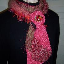 Tangerine Treat...diagonal Stripe Scarf With Scarf Holder-Pin Photo