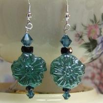 Teal Pressed Glass Flower Earrings Photo