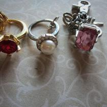 THREE LARGE KEY CHAIN RINGS WITH STONES Photo