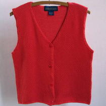 Tomato Red Cotton Knit Vest - Herman Geist - Classic Sportswear Photo