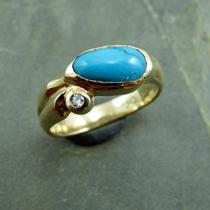 Turquoise and Gold Ring With Diamond Accent Photo