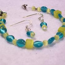 Turquoise Yellow Cat Eye Bracelet Earring Set - Free Shipping Photo
