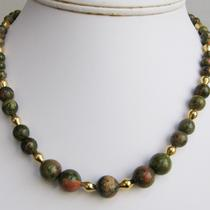 Unakite Graduated Round Bead Choker Photo