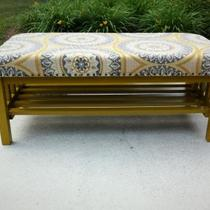 Upholstered Wood Bench W/ Shelf Photo