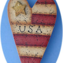 Usa Flag Heart Pin Teacher Gift Hand Painted Wood Photo