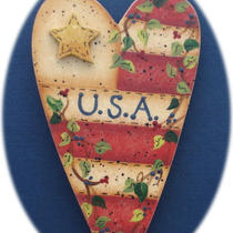Usa Flag Heart Vine Teacher Gift Pin Hand Painted Wood Photo