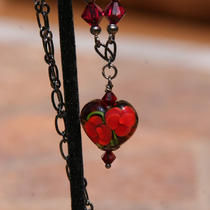 Valentine Bleeding Heart Sra Lampwork Designer Necklace Red N Black Gunmetal Crystals Romantic Love Photo