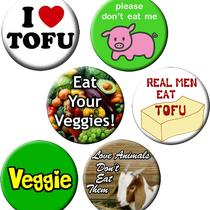Vegetarian Pin-Pack-6 Small 1.25 Inch Buttons-With a Vegetarian Theme - Set of 6 Small Pin-Back Buttons Photo