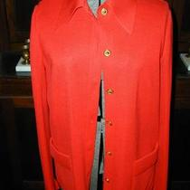 Vintage 100% Polyester Knit Tangerine Orange Ladies Jacket Size 18 Photo