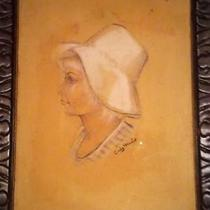 Vintage, 1950s Framed Pencil & Chalk Lady's Portrait Photo