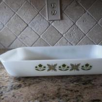 Vintage Anchor Hocking Cassarole Dish - Green Meadow Photo