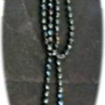 Vintage Black Bead Long Strand Necklace Photo
