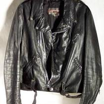 Vintage Black Brooks Motorcycle Leather Jacket  Size 40 Photo