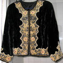 Vintage Black Velvet Beaded Jacket  Photo