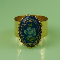 Vintage Blue Rose Adjustable Ring Photo