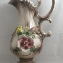 "Vintage Capodimonte Pitcher Sculpted Flowers Footed 14"" Tall Made n Italy Photo"