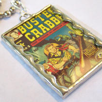 Vintage Comic With Buster Crabbe in Scalloped Soldered Pendant Photo