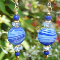 Vintage German Striped Glass Earrings Photo