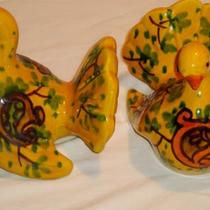 Vintage hand made in Italy pair of yellow Dove's Photo