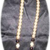 Vintage Large Pearl Black and Gold Bead Necklace Photo