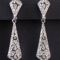 Vintage Midcentury Panetta Drop Earrings With Rhinestones Photo
