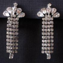 Vintage Midcentury Waterfall Earrings With Rhinestones Photo