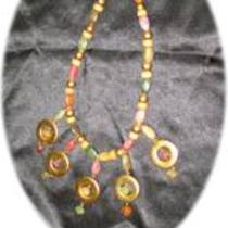 Vintage Multi-Color 5-Ring Necklace Photo