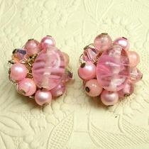 Vintage Pink Glass  W/silver Clip Earrings 20mm 1 Pair Photo