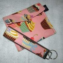Wallet Business Card Holder Key Fob Sweet Tooth Pink Cupcake Fabric Set Photo