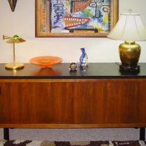 WALNUT CREDENZA WITH SLIDING DOORS! MID-CENTURY MODERN! HDTV CABINET? Photo