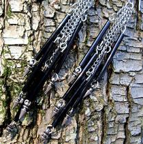 Waterfall Chimes -- Spearpoint Silver and Jet Black Earrings Photo