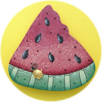 Watermelon Summer Charm Teacher Gift Pin Hand Painted Wood Photo