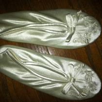 Wedding Slippers-White Satin W/ Beading-Worn Once Photo