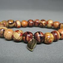 Wesley Wood Bead Bracelet in Patterned Beads Photo