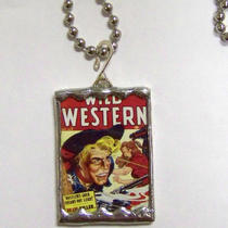 Western Glass Pendant With Wild Western Vintage Comic Photo