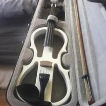 White Electric Violin with Amp  Photo