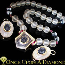 White Quartz Ruby &ampamp Hematite Roman Soldier Gold Necklace Earring Set Photo