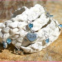 White Silver Sparkle Wrap Leather Bracelet With Austrian Crystals Aqua Hearts Photo