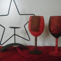 Wine glass candle holders Photo
