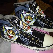 women&amp039s Brand New Size 10 Black Ed Hardy Highrise Sneakers Photo