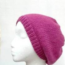 Wool Beanie Hat Bright Pink Beret Hand Knitted Photo