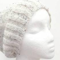 Wool Beanie Winter White Tweed Flecks Beret Wide Brim Photo
