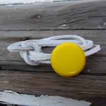 Yellow Button/white Leather Cord Wrap Bracelet Photo