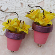 Yellow Lily Flower Earrings in Hanpainted Pink and Purple Flower Pot Photo